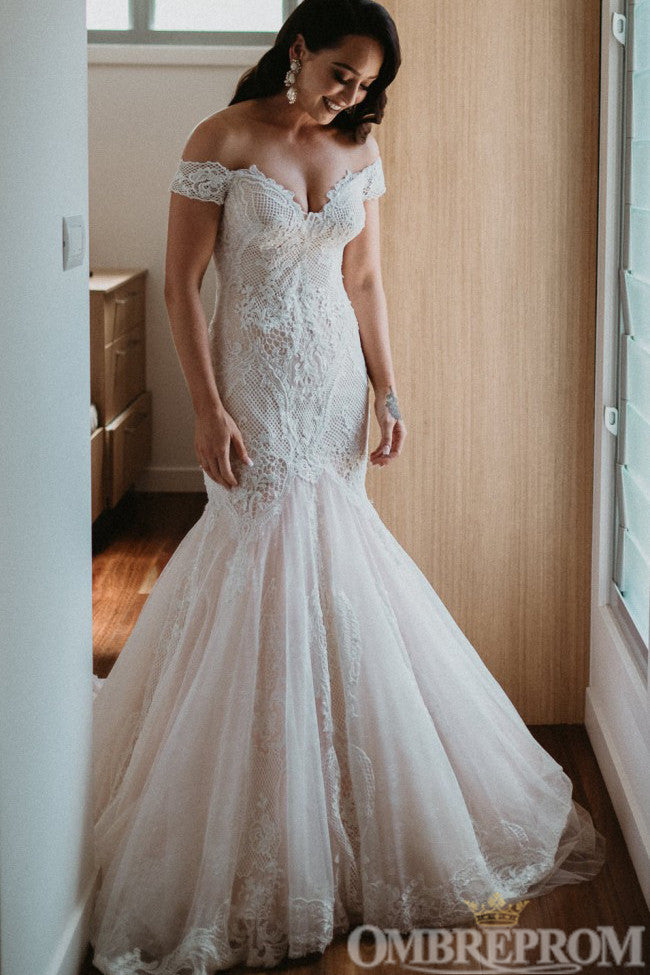 Luxury Off Shoulder Sweetheart Mermaid Lace Wedding Dress W690