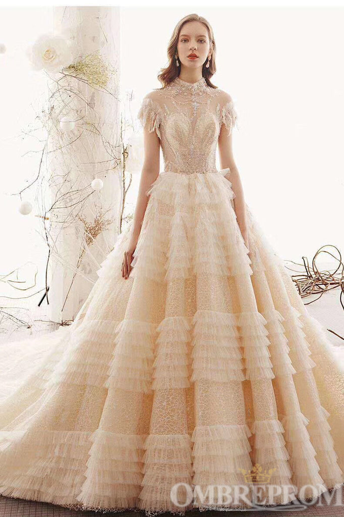 Luxury Short Sleeves Lace Wedding Dress Beading Long Bridal Gown W713