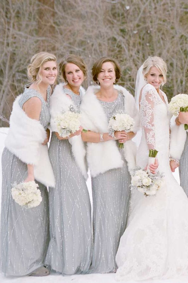 Sparkly Sheath Long Gray Elegant Bridesmiad Dress Wedding Party Dress M1001