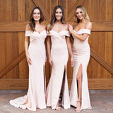 Unique Off The Shoulder Charming Elegant Simple Long Bridesmaid Dresses Wedding Party Dress M1004