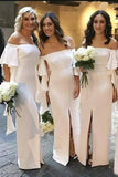 Pretty Ivory Floor Length Front Split Simple Long Bridesmaid Dresses With Sleeves M1005