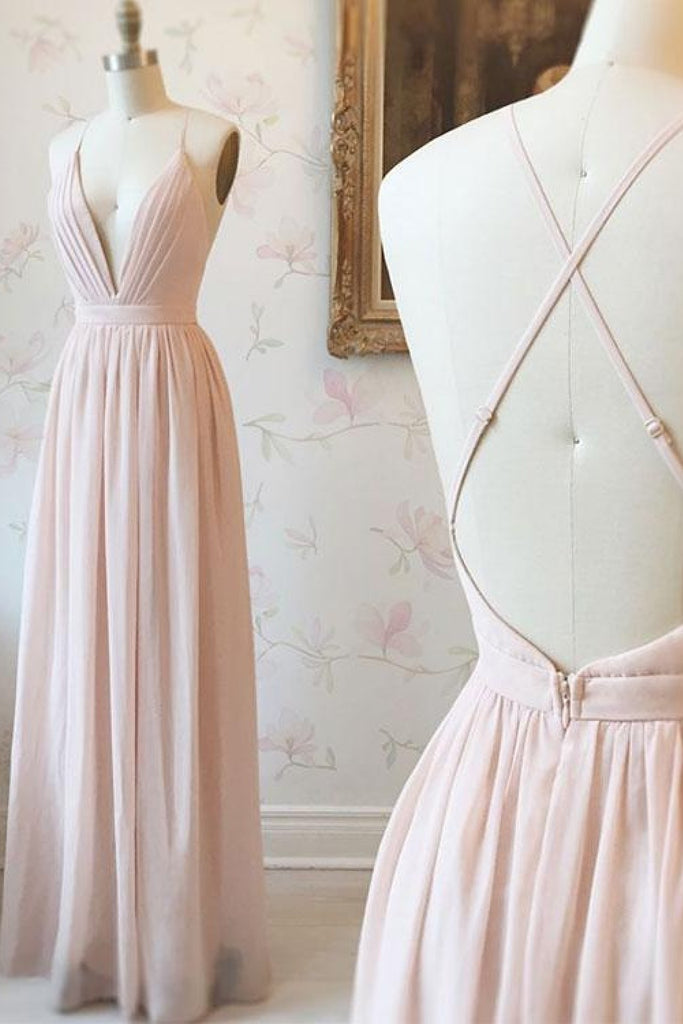 Simple V-neck Zipper Back Floor Length Pink Chiffon Long Elegant Bridesmaid Dresses M1007