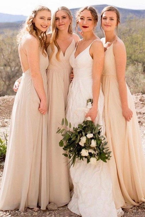Affordable Long A-line Chiffon Flowy Bridesmaid Dresses For Wedding M1008