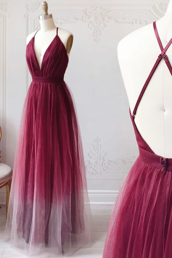 Pretty Ombre Tulle A-line Simple Prom Dress Beautiful Backless Bridesmaid Dresses M1009