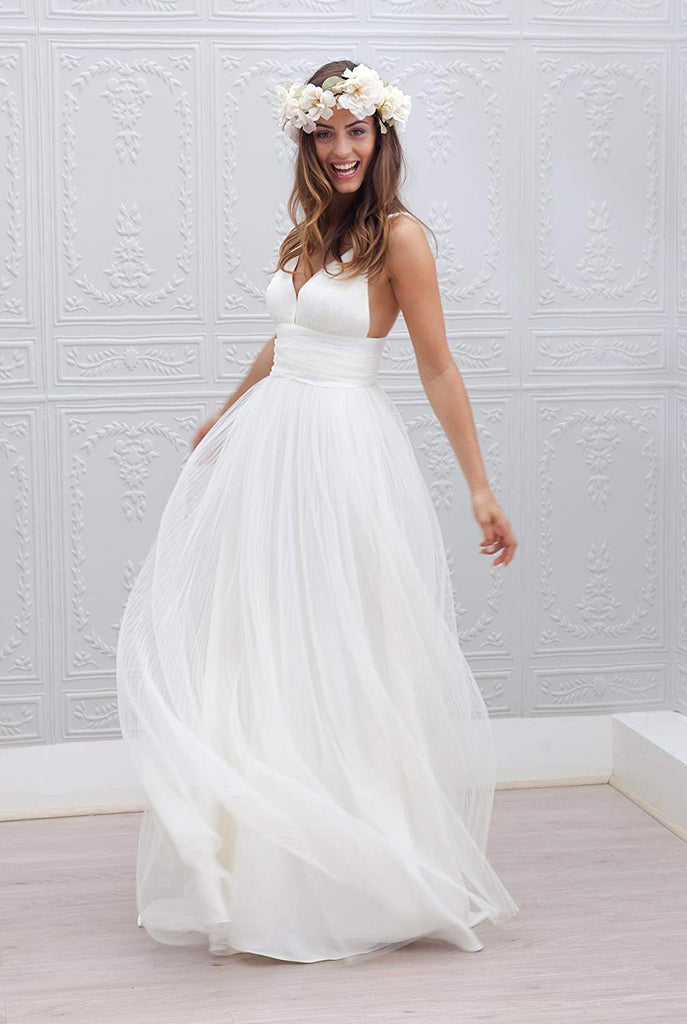 Elegant Spaghetti Straps Flowy Long Backless Simple Tulle Chiffon Beach Wedding Dresses M1011