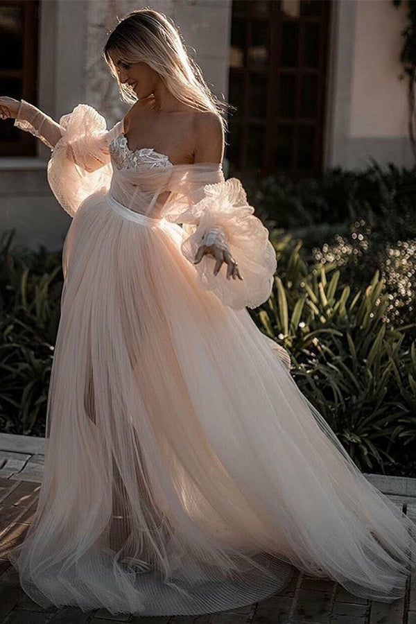 Chic Elegant Flowy Long Backless Beach Wedding Dresses With Sleeves Romantic Bridal Dress M1012