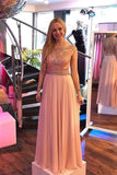 Chic Girly Long Beading Chiffon Pink Zipper Back Prom Dresses For Teens M1025