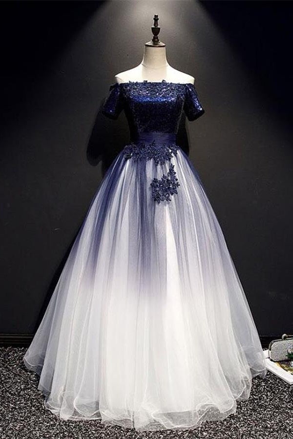 Modest Royal Blue Long Flowy Evening Prom Dresses With Lace Appliques M1030