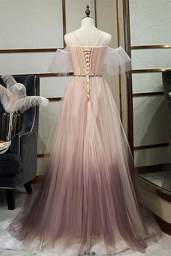 New Arrival Pink Lace Up Back Princess Dresses Beautiful Prom Dress With Sleeves M1031
