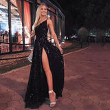 Glitter Black A-line Beautiful Prom Dresses Chic V-neck Long Homecoming Dress For Teens M1033