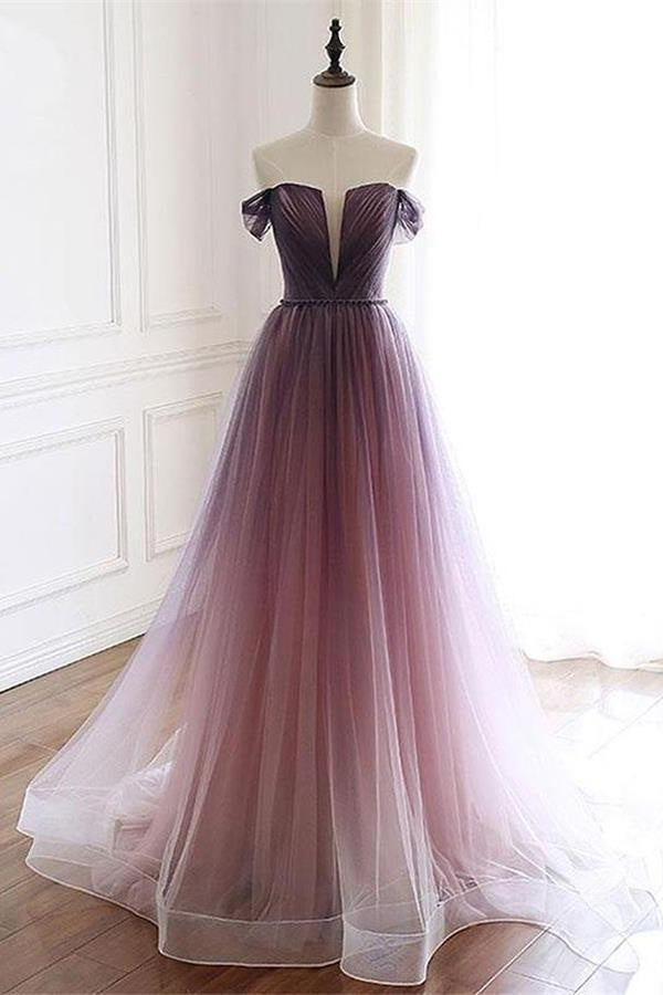 Simple Ombre Tulle Long Off The Shoulder Prom Dress Affordable Lace Up Back Party Dresses M1035