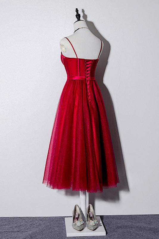 Vintage Spaghetti Straps Lace Up Burgundy Tea Length Homecoming Dresses Prom Dress M1037