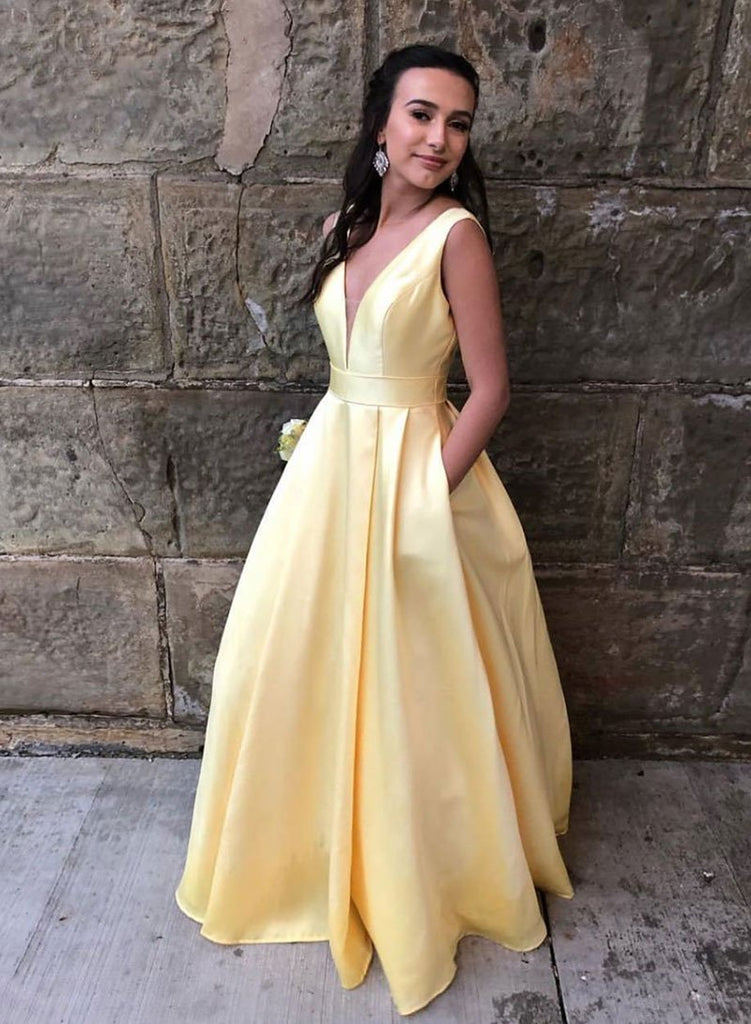 V-neck Simple Yellow Satin Long Prom Dresses With Pockets Cute Dresses M1040