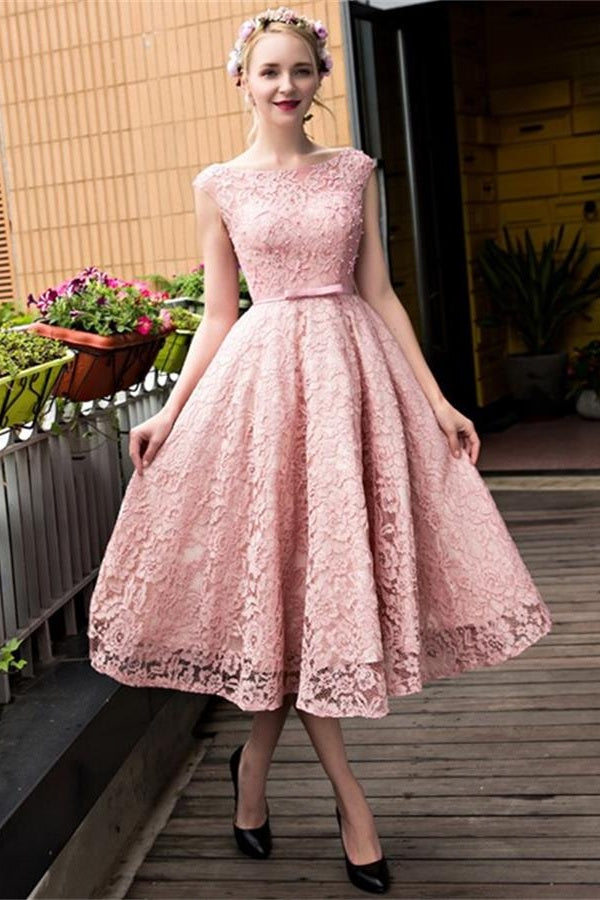 Cap Sleeves Beautiful Lace Tea Length Princess Prom Dresses Sweet 16 Dress M1044