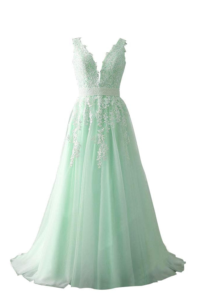 New Arrical Ivory Beading Long Princess Prom Dresses With Lace Appliques M1046