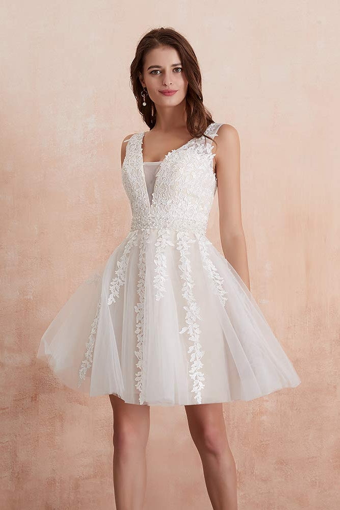 Cute Short Backless V-neck Beading Homecoming Dresses Ivory Party Dress M1047