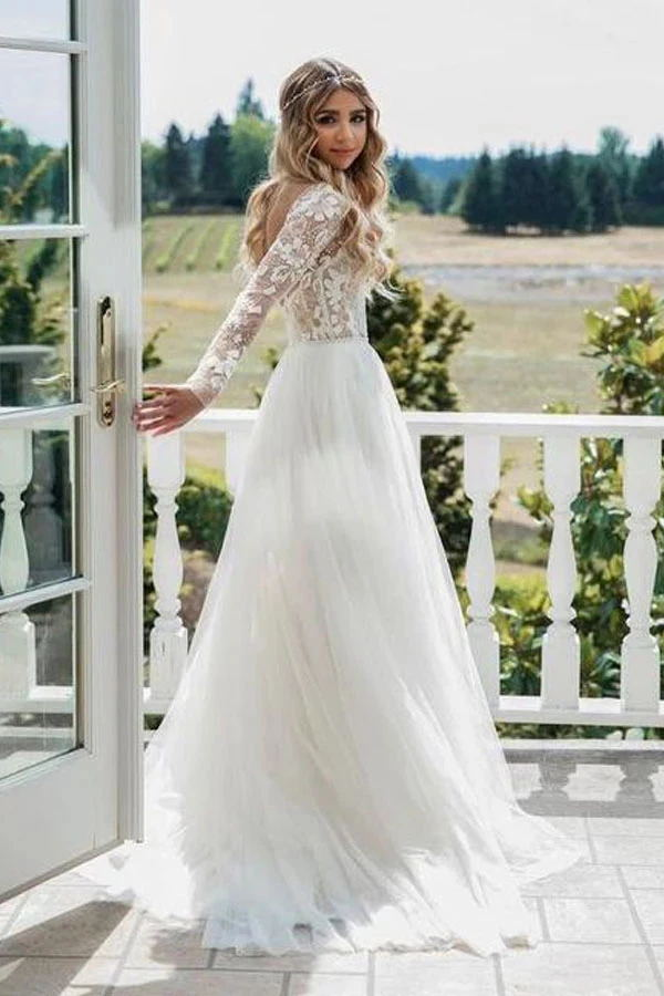 Chic Long Backless Ivory Wedding Dresses With Sleeves Charming Bridal Gown M1048
