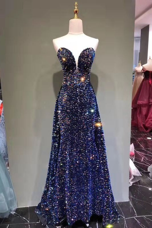 Chic Long Strapless Sparkly Tight Prom Dresses Formal Party Dress M1049