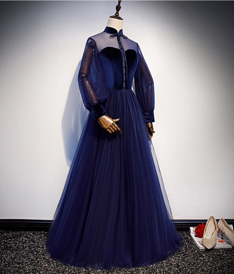 Vintage Long Simple Long Sleeves Evening Prom Dresses Open Back Blue Party Dress M1050