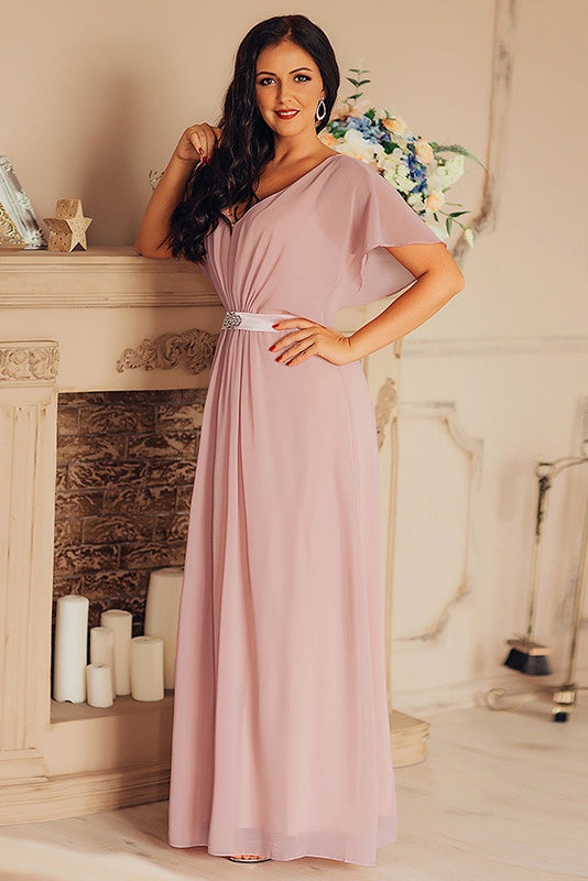 Simple Style V-neck Chiffon Long Elegant Prom Dresses Fashion Gowns M1053