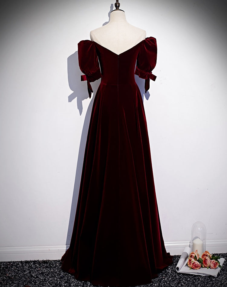 Modest Charming Burgundy  Long Prom Dresses Vintage Evening Dress With Bowknot M1055
