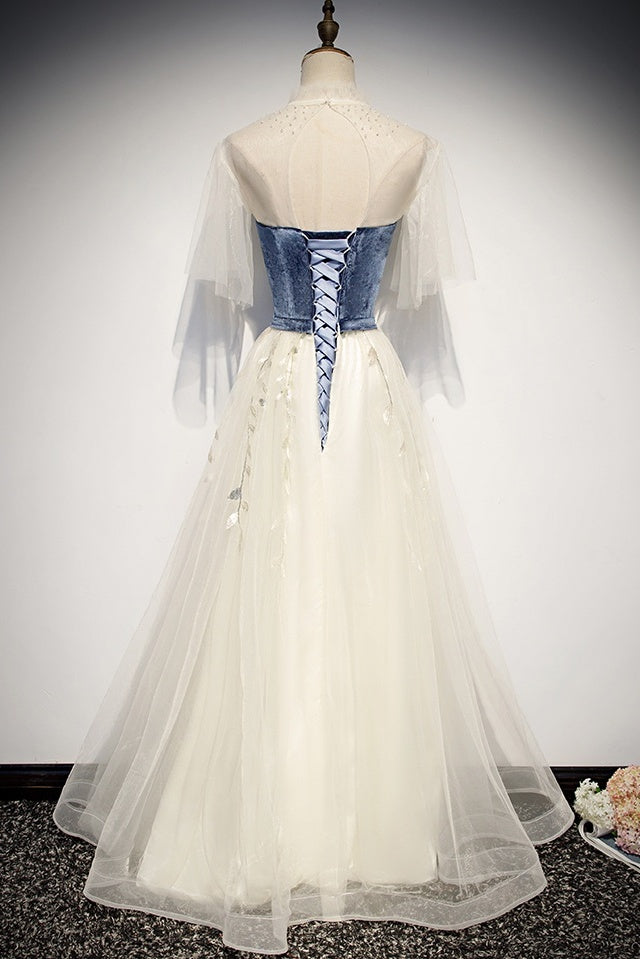 Elegant Ivory And Blue Flowy Princess Prom Dresses For Teens Long Homecoming Dress M1056