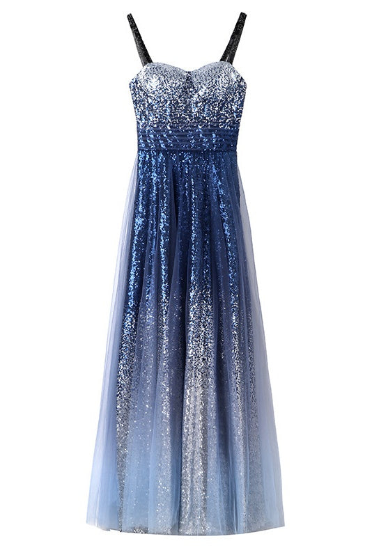Chic Gorgeous Long A-line Ombre Sequin Floor Party Prom Dresses M1057