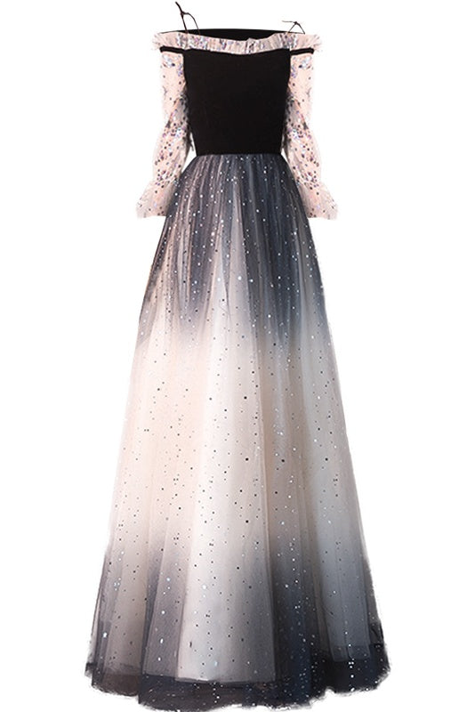 Newest Spaghetti Straps Sequin Shiny Ombre Prom Dresses With Sleeves M1058