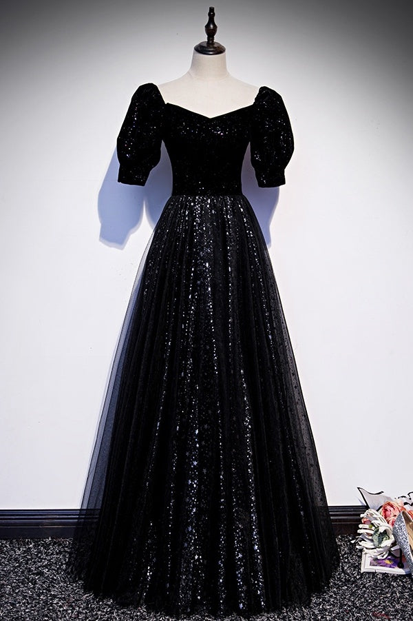 Modest Sparkly Black Long A-line Prom Dress With Sleeves Eveing Gowns M1060