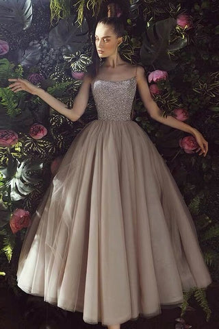 Elegant Spaghetti Straps Ankle Length Tulle Prom Dresses Cute Dress M1072