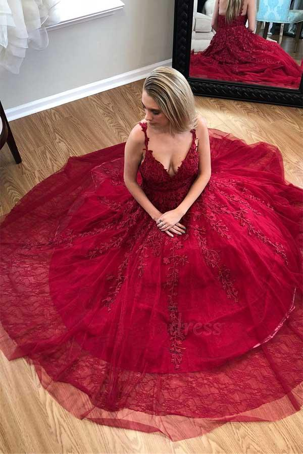Pretty Burgundy V-neck Long Tulle Prom Dresses With Appliques M1076