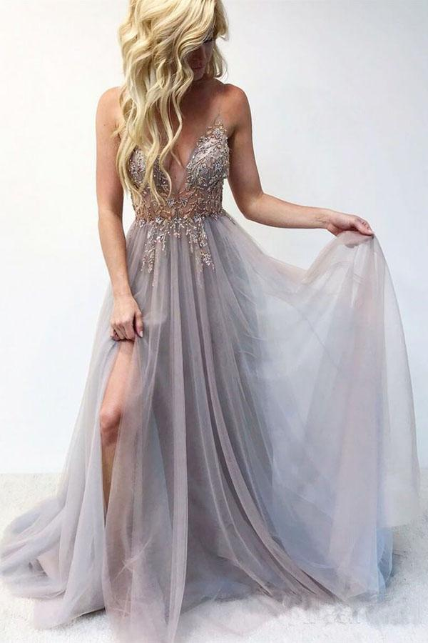 Beautiful Spaghetti Straps Long Beading V-neck Prom Dresses For Teens M1077