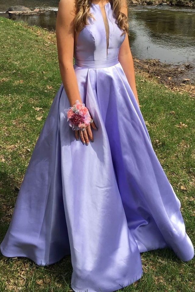 Classy Long A-line Satin Prom Dresses Simple Lilac Party Dress M1086