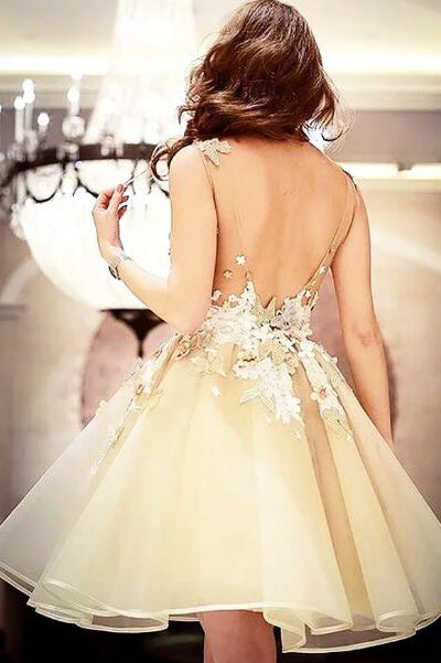 A-Line Elegant  Scoop Sleeveless Applique Short Organza Homecoming Dresses M328 - Ombreprom