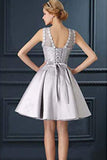 Elegant Sleeveless Open Back With Appliques A Line Homecoming Dress M618