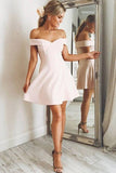 Chic Off the Shoulder Satin A Line Knee Length Homecoming Dress M627