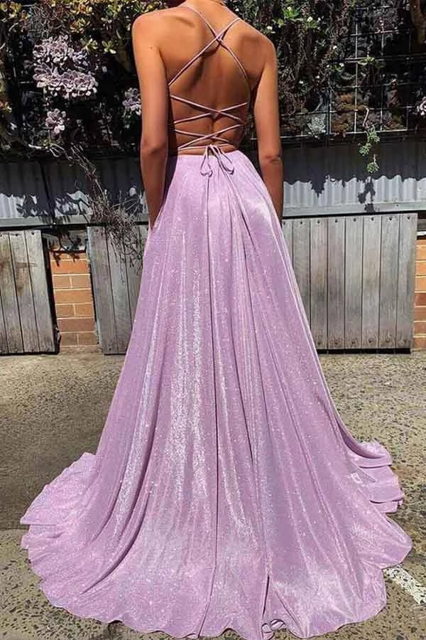 Deep V-neck Backless Spaghetti Straps Long Sparkly Prom Dresses Prom Gowns M824