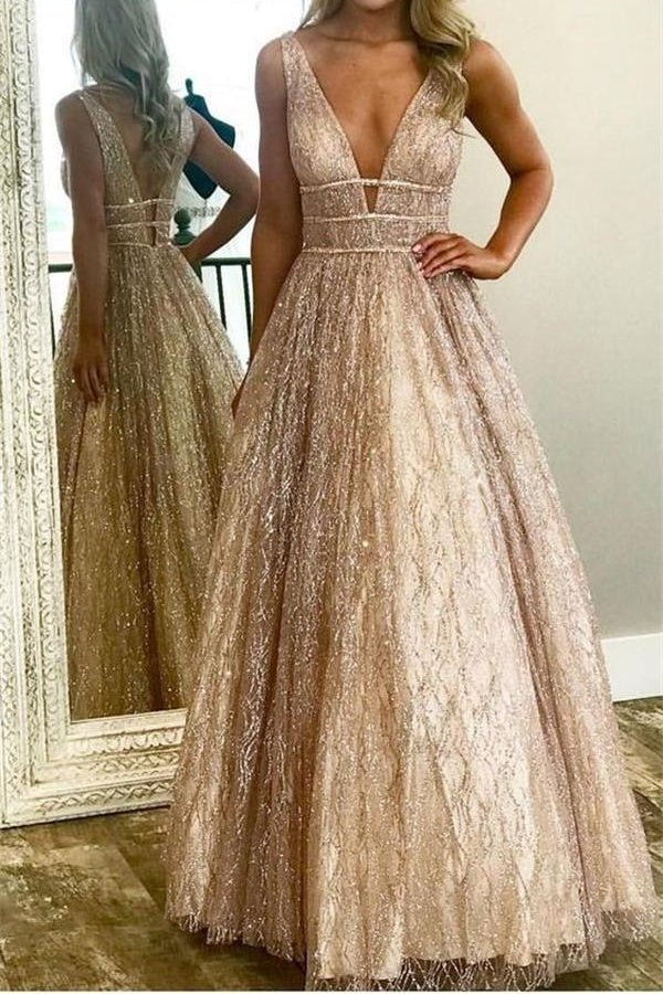 Sparkly Long V-neck Open Back Unique Prom Dresses Princess Dresses M827