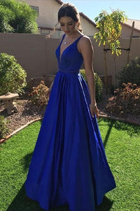 Modest A-line V-neck Prom Dresses Long Party Dresses Cute Dresses M828