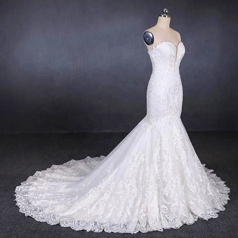 Unique Mermaid Ivory Lace Long Sweetheart Wedding Dresses Wedding Gowns M830