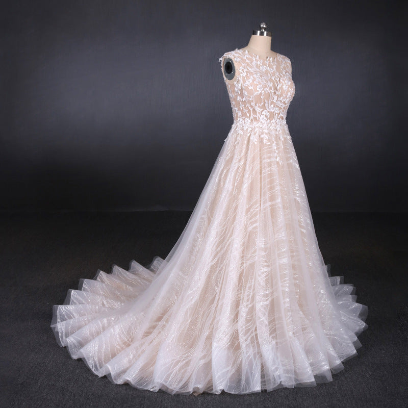 Gorgeous Long Backless Wedding Dresses Ivory Lace Wedding Gowns M835