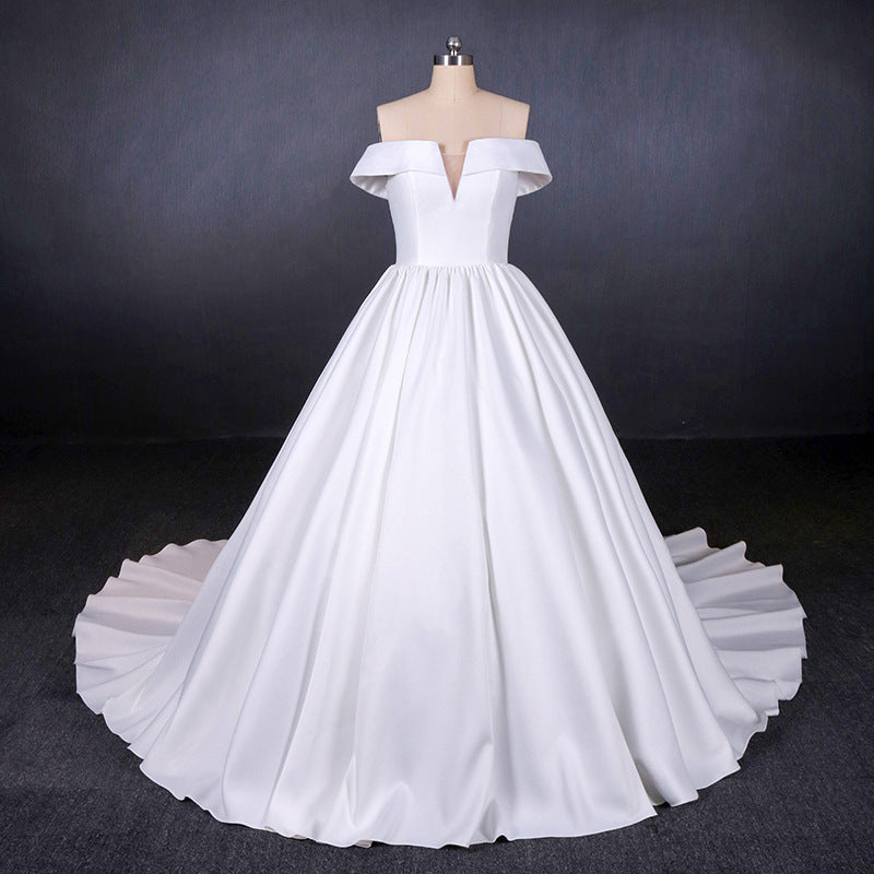 Simple Off The Shoulder Ivory Satin Wedding Dresses Lace Up Wedding Gowns M838