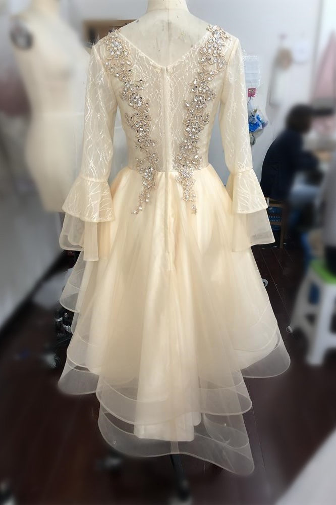 Cute High Low Long Sleeves Lace Beading Prom Dresses FOr Teens M841