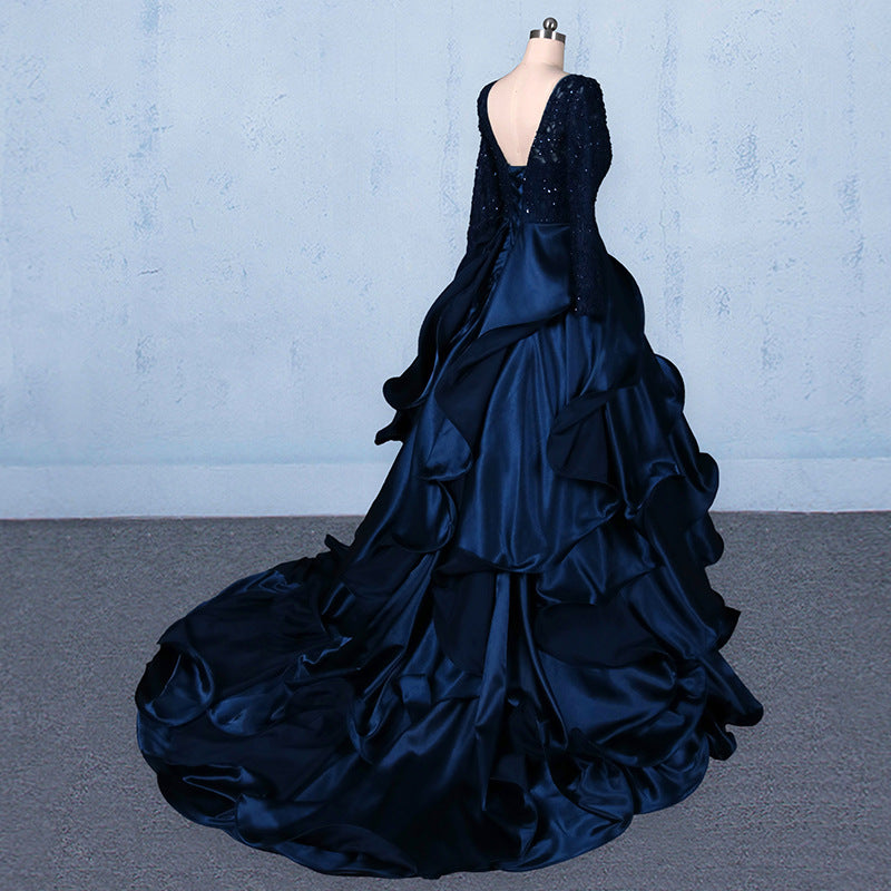 Formal V-neck Beading Lace Satin Backless Ball Gown Prom Dresses With Sleeves M845