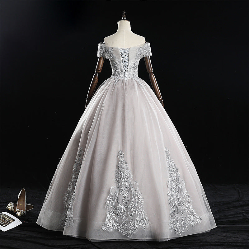 Silver Off The Shoulder Elegant Long Prom Dresses Princess Prom Dresses M849