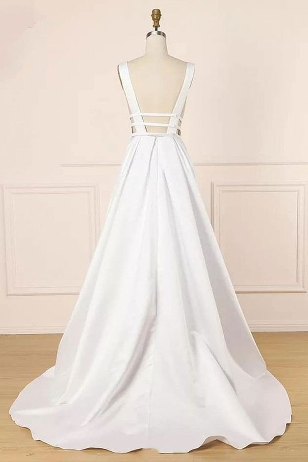 Elegant Ivory V-neck Simple Cheap Satin Prom Dresses With Pockets M851