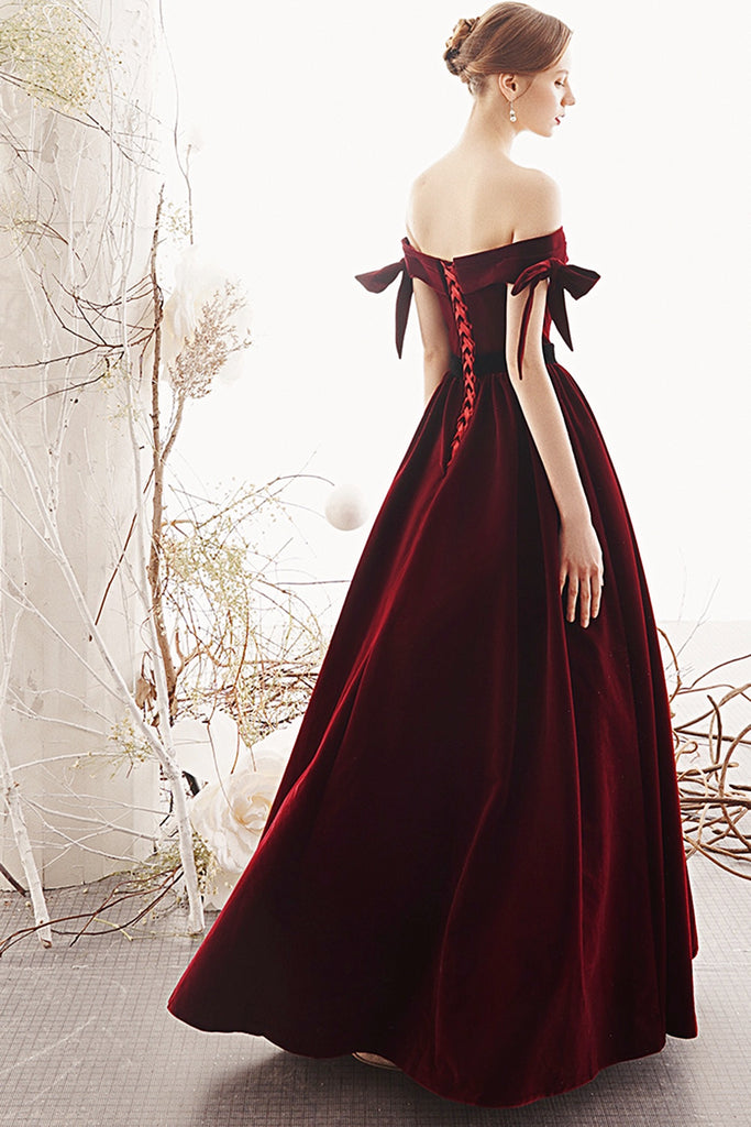 Charming Off The Shoulder Long A-line Burgundy Velvet Evening Dresses Prom Dresses M852