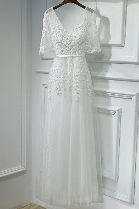 Pretty Half Sleeves A-line Ivory Lace beading Long Prom Dresses For Teens M853
