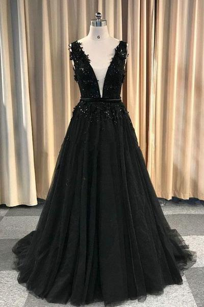 Formal Deep V-neck Long Black Party Prom Dresses With Lace Appliques M854
