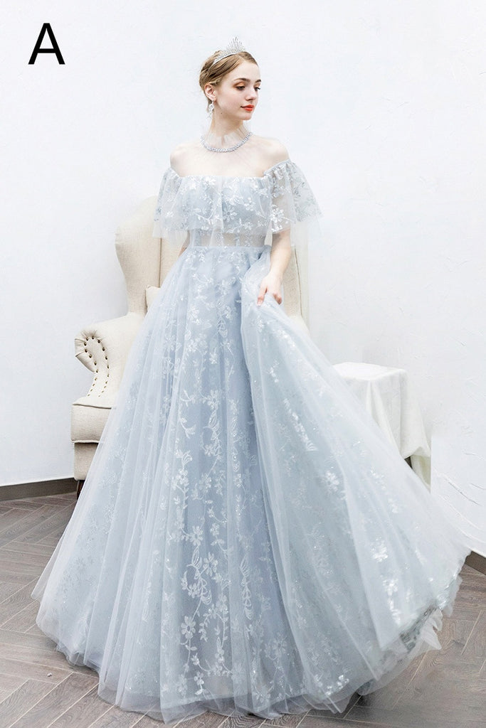Flowy Elegant Long A-line Lace Tulle High Neck Princess Prom Dresses M855